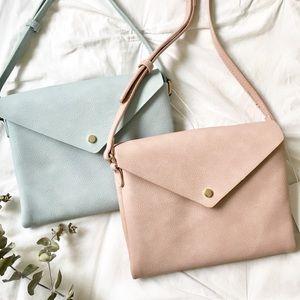 NWT Vegan Leather Envelope Crossbody Bag BLUE